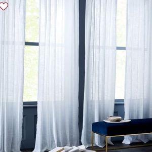 "West Elm Sheer Crosshatch Curtain White 108"""